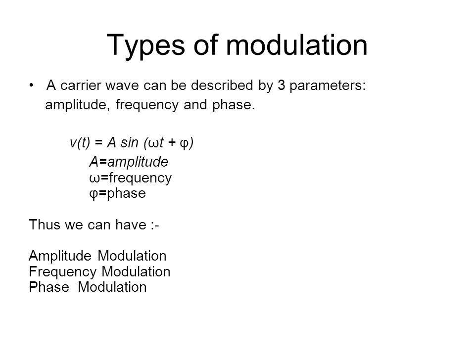 Types of modulation A carrier wave can be described by 3 parameters: