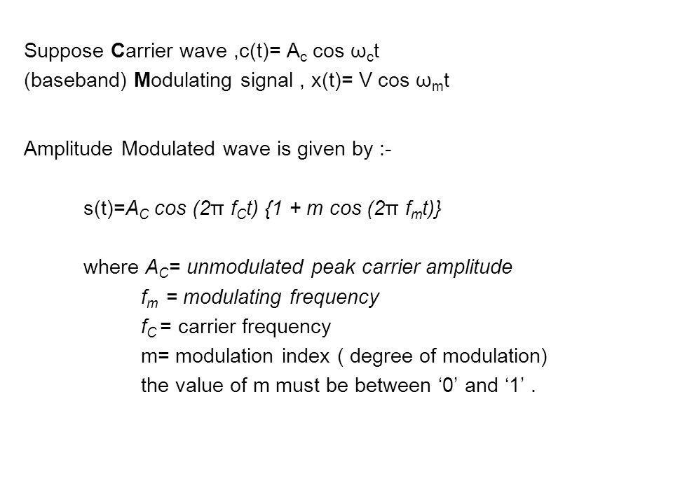 Suppose Carrier wave ,c(t)= Ac cos ωct
