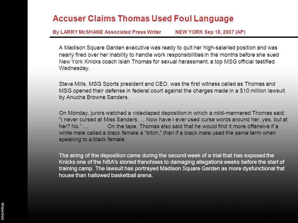 Accuser Claims Thomas Used Foul Language By LARRY McSHANE Associated Press Writer NEW YORK Sep 18, 2007 (AP)