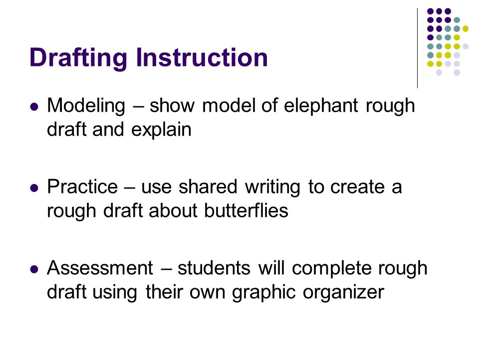 Drafting Instruction Modeling – show model of elephant rough draft and explain.