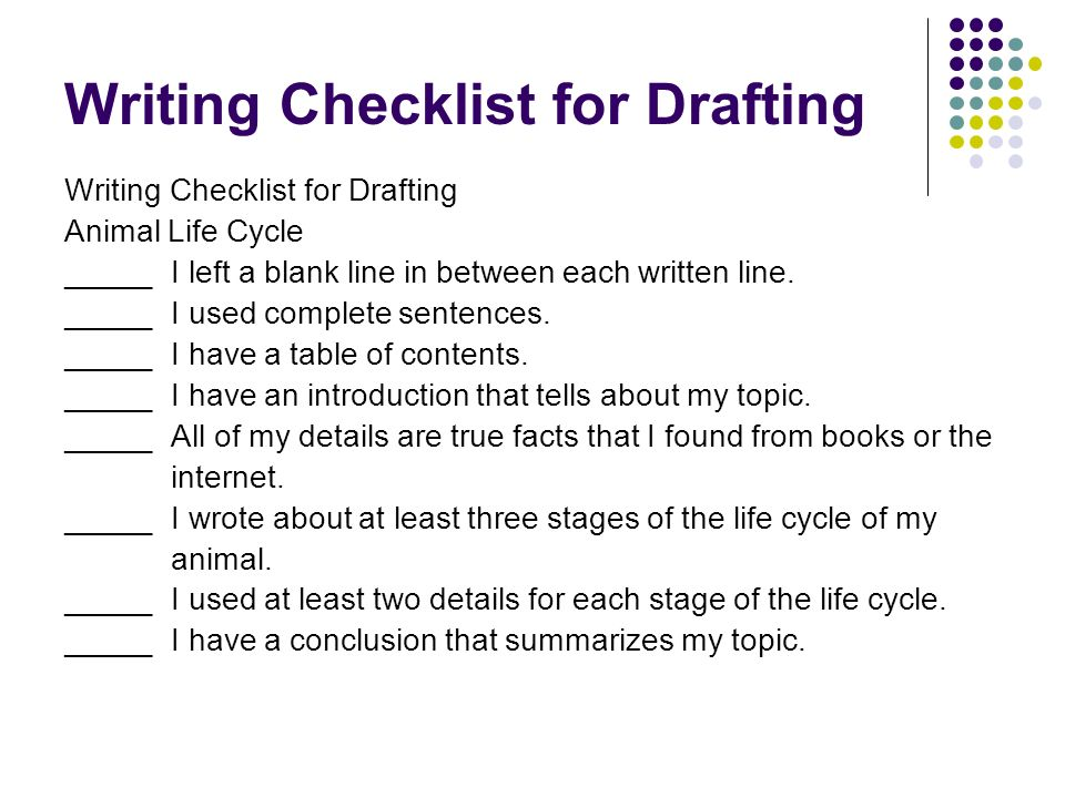 Writing Checklist for Drafting