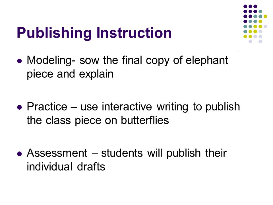 Publishing Instruction