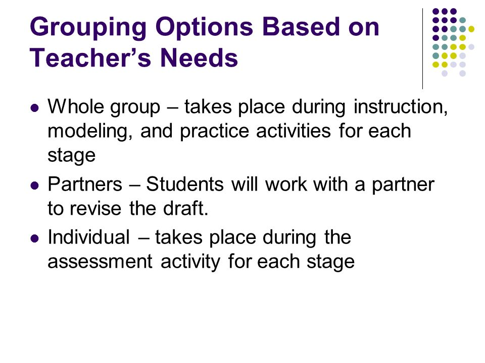 Grouping Options Based on Teacher's Needs