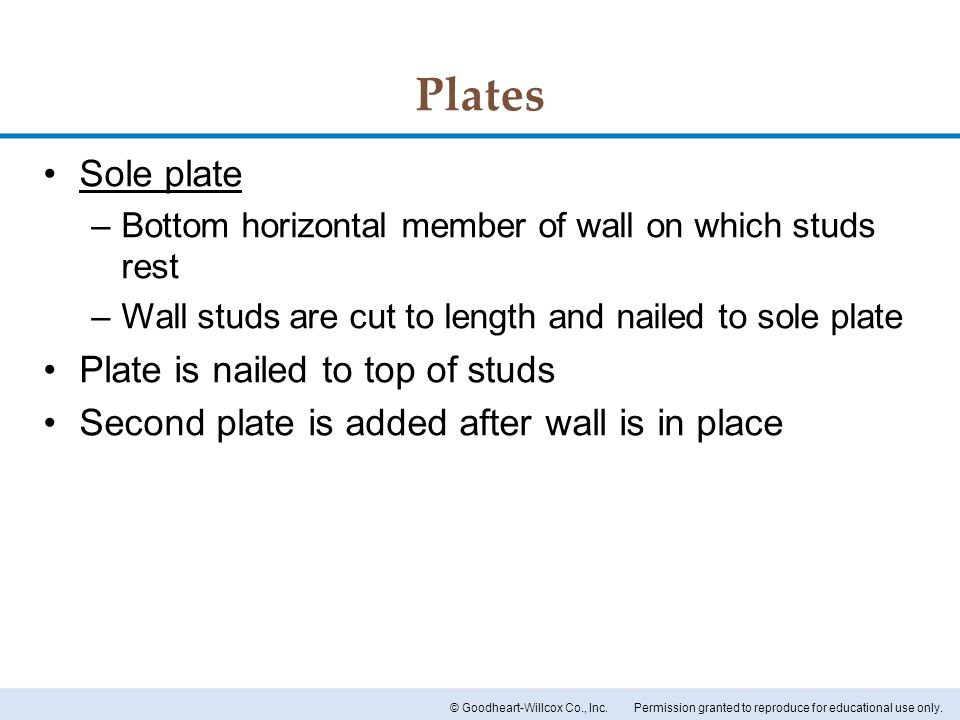 Plates Sole plate Plate is nailed to top of studs