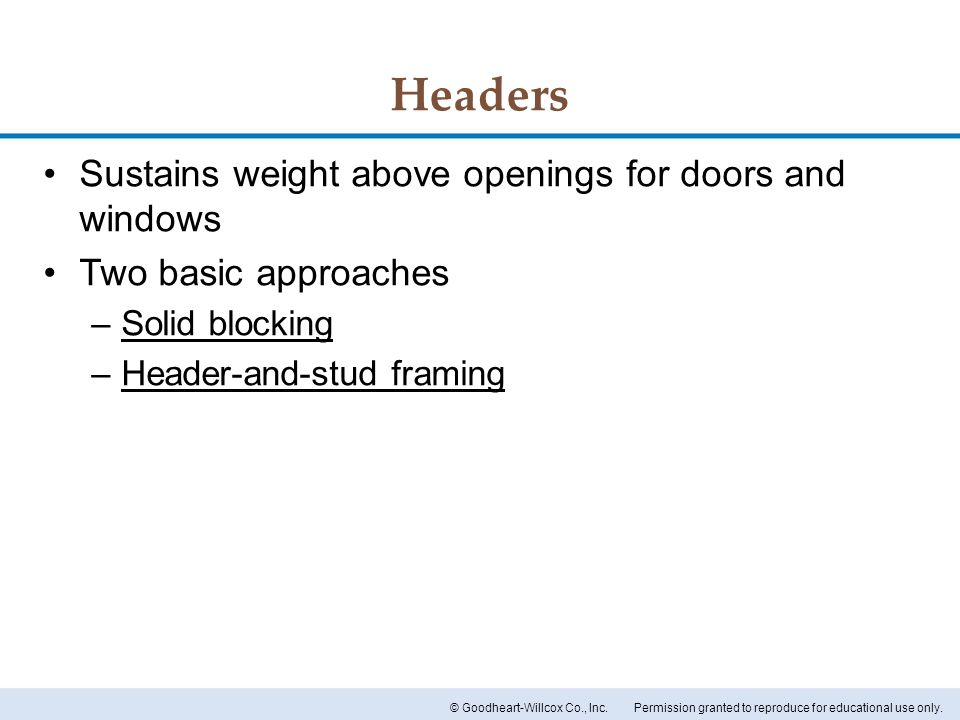 Headers Sustains weight above openings for doors and windows
