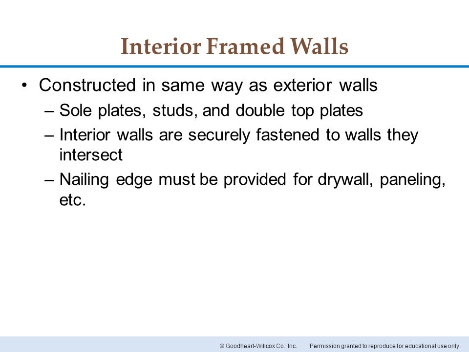 Interior Framed Walls Constructed in same way as exterior walls
