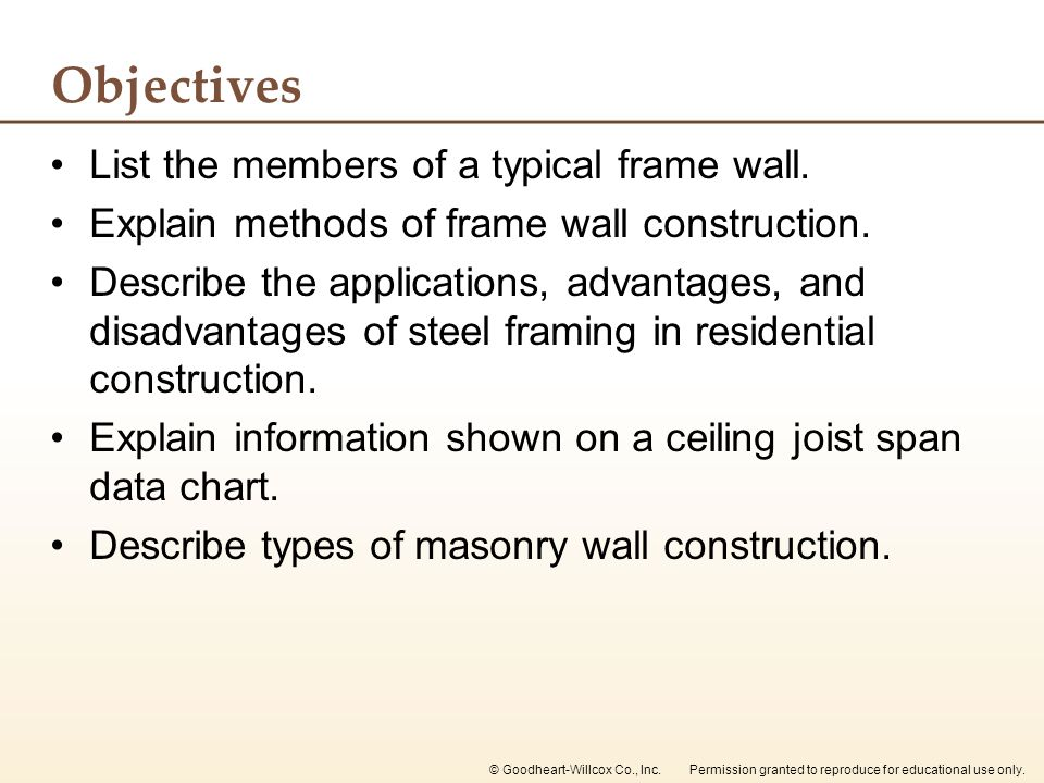 Objectives List the members of a typical frame wall.