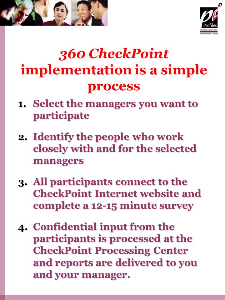 360 CheckPoint implementation is a simple process
