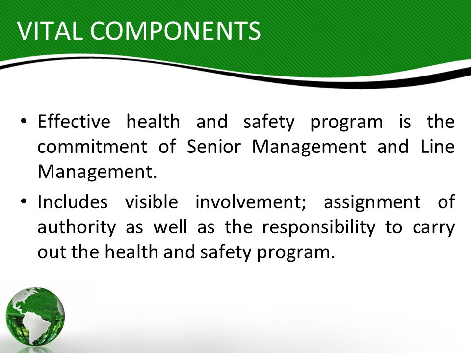 VITAL COMPONENTS Effective health and safety program is the commitment of Senior Management and Line Management.