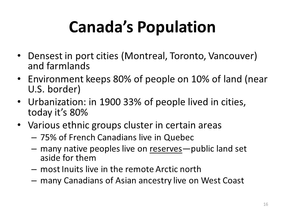 Canada's Population Densest in port cities (Montreal, Toronto, Vancouver) and farmlands.