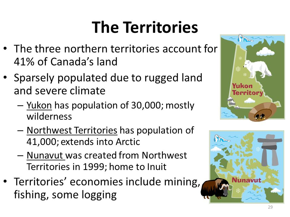 The Territories The three northern territories account for 41% of Canada's land. Sparsely populated due to rugged land and severe climate.