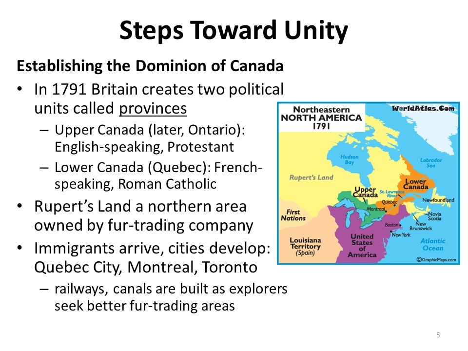 Steps Toward Unity Establishing the Dominion of Canada