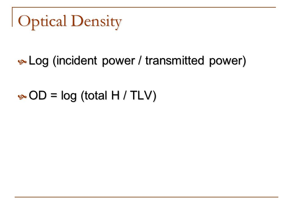 Optical Density Log (incident power / transmitted power)