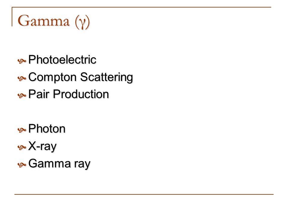 Gamma (γ) Photoelectric Compton Scattering Pair Production Photon