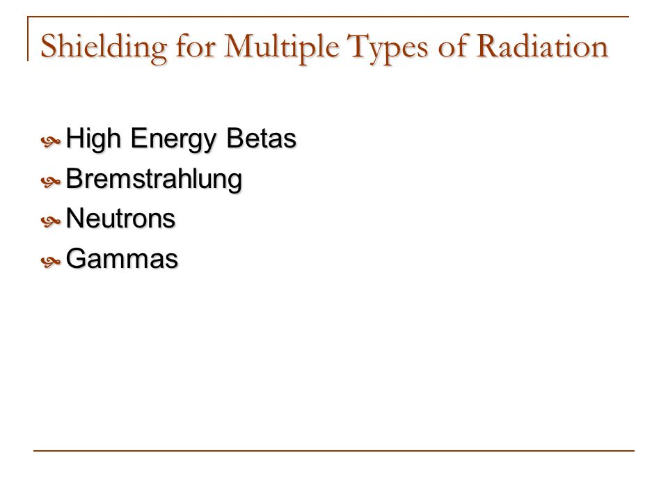 Shielding for Multiple Types of Radiation