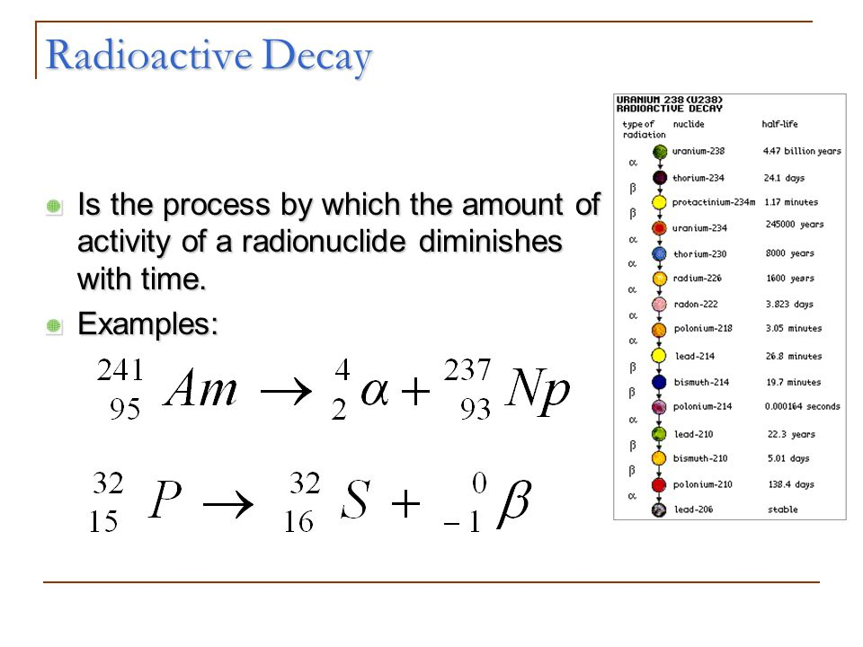 Radioactive Decay Is the process by which the amount of activity of a radionuclide diminishes with time.
