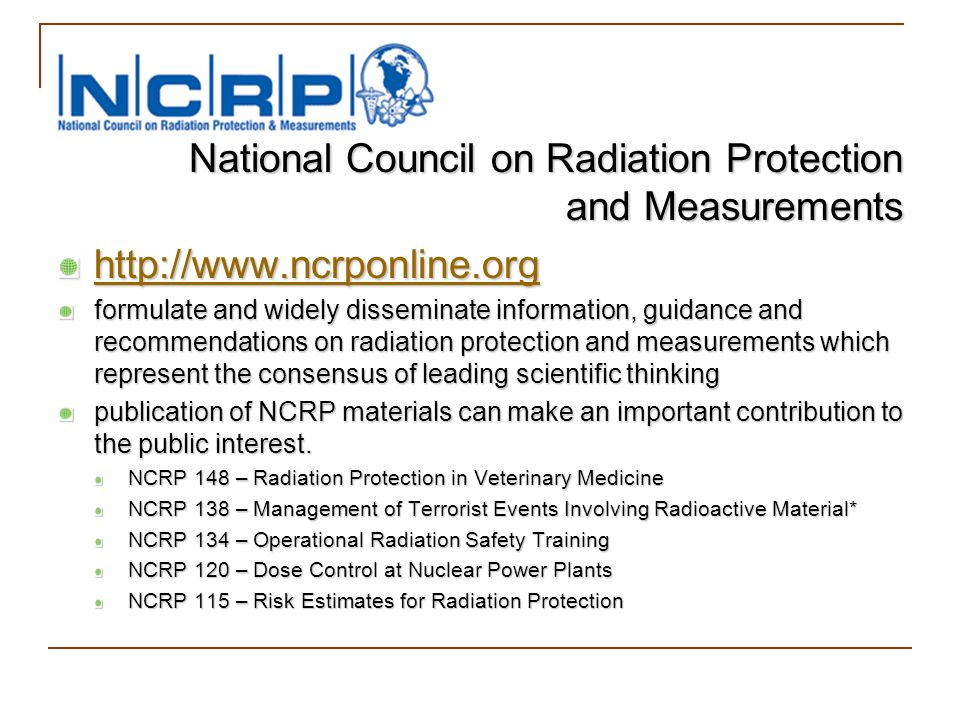 National Council on Radiation Protection and Measurements