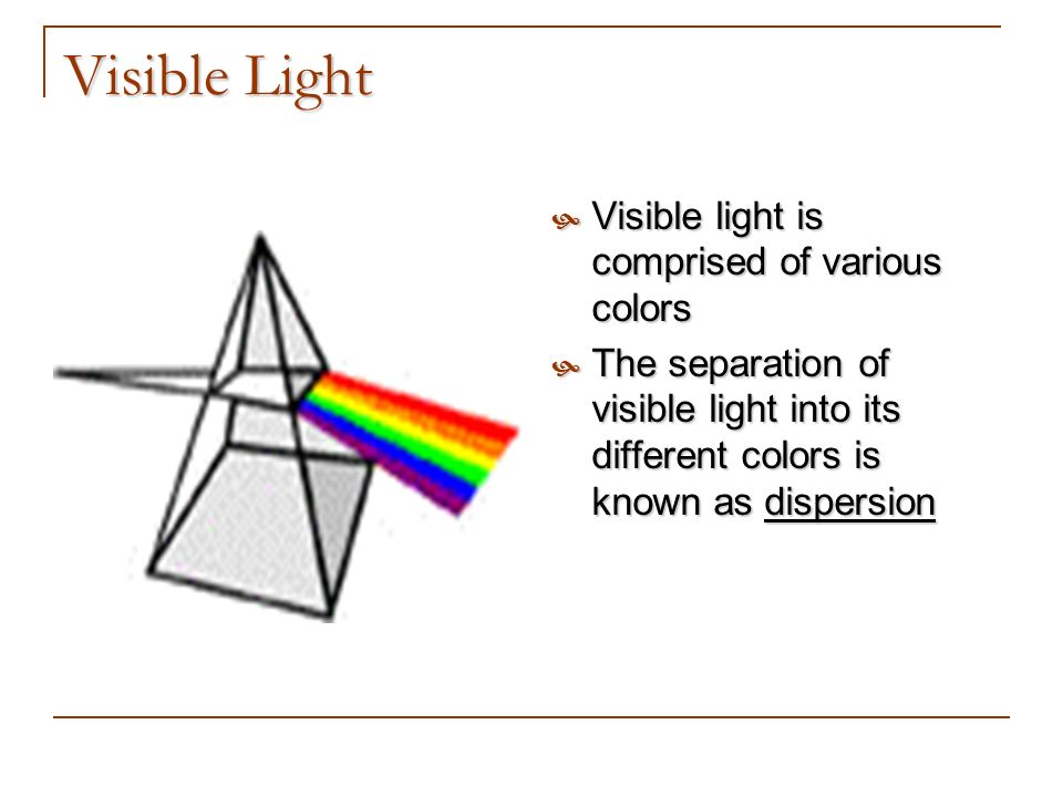 Visible Light Visible light is comprised of various colors