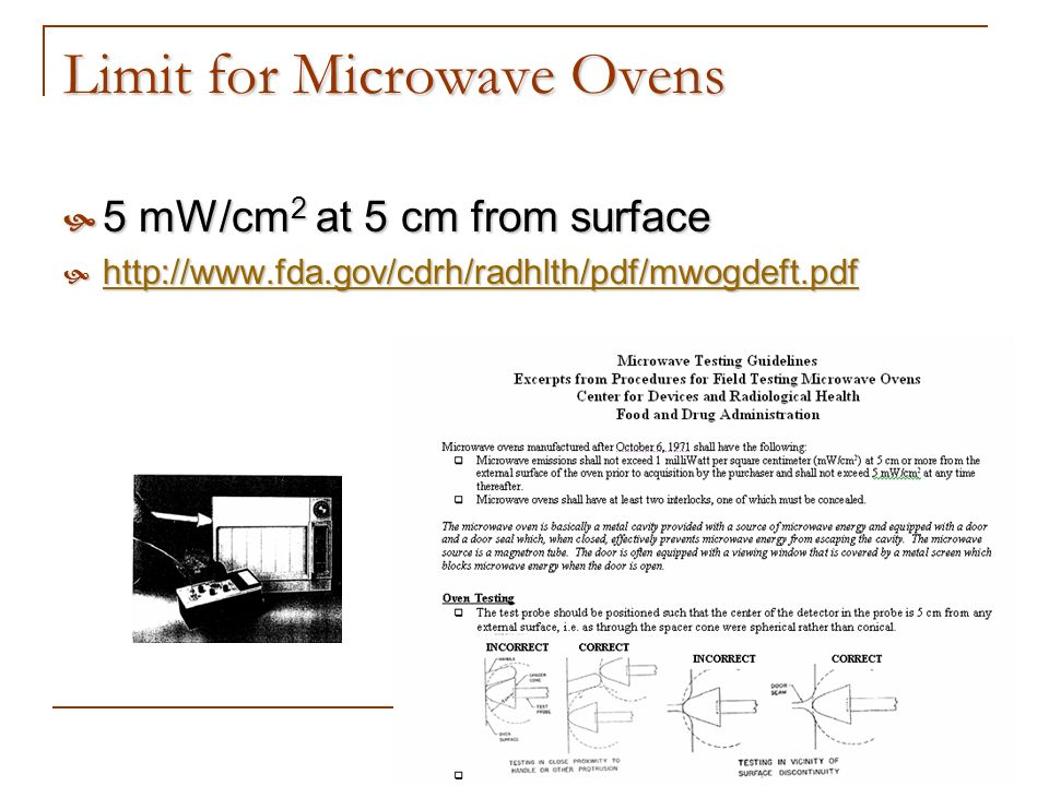 Limit for Microwave Ovens