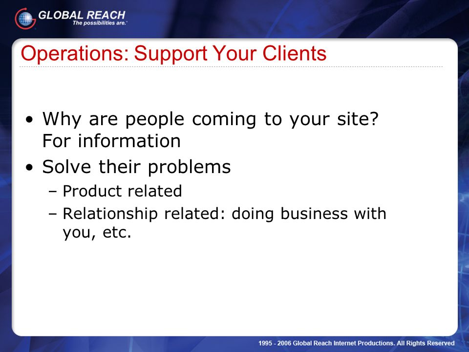 Operations: Support Your Clients