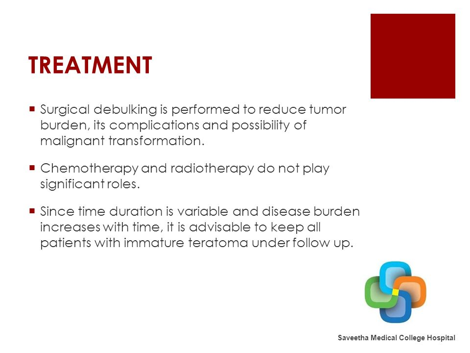 TREATMENT Surgical debulking is performed to reduce tumor burden, its complications and possibility of malignant transformation.