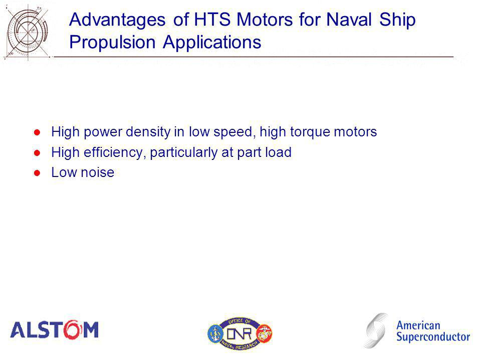 Advantages of HTS Motors for Naval Ship Propulsion Applications