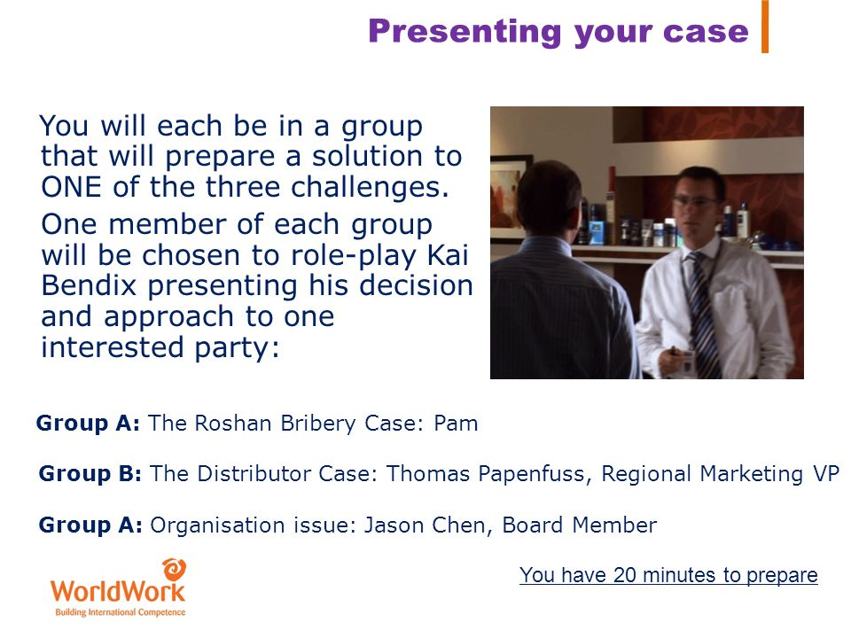 Presenting your case You will each be in a group that will prepare a solution to ONE of the three challenges.