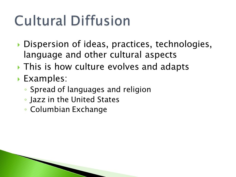 Examples of cultural exchange.