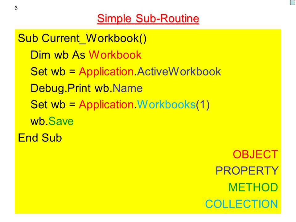 Sub Current_Workbook() Dim wb As Workbook