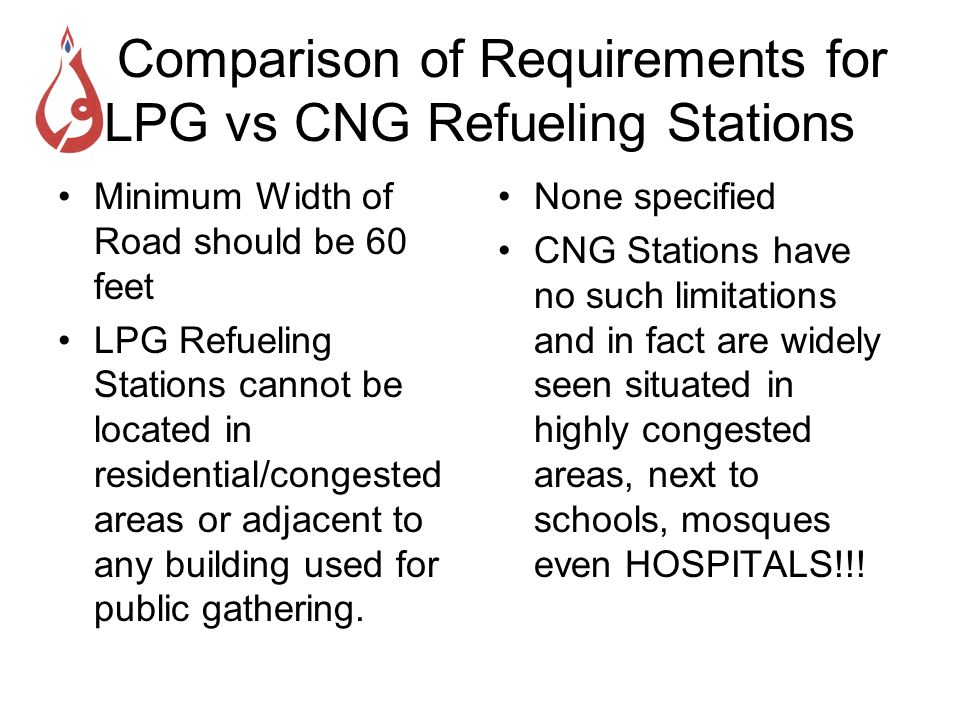Comparison of Requirements for LPG vs CNG Refueling Stations