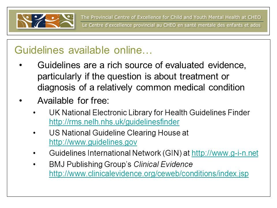 Guidelines available online…