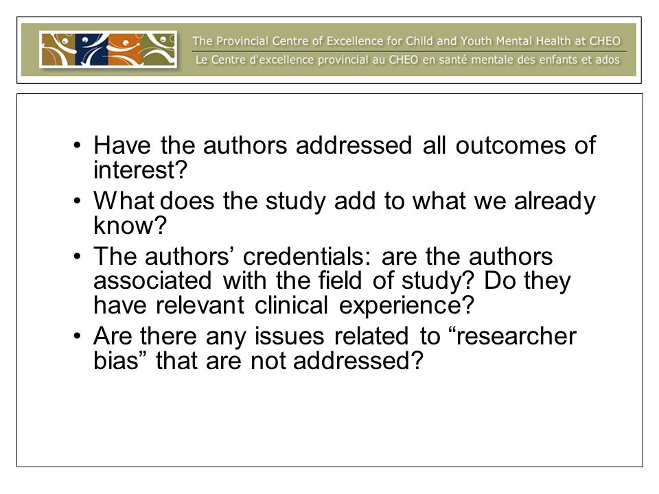 Have the authors addressed all outcomes of interest