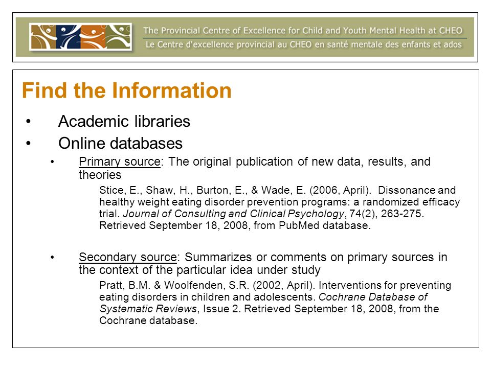 Find the Information Academic libraries Online databases