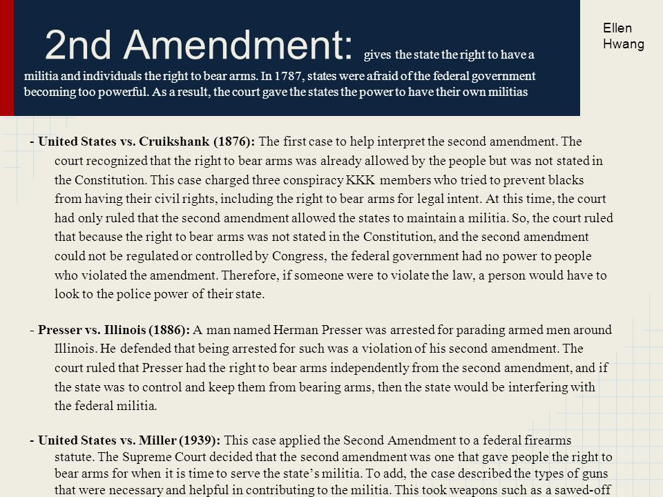 the use of the second amendment in the home Thus, even as generously construed in heller, the second amendment provides no obstacle to regulations prohibiting the ownership or use of the the specific holding of the case covers only the possession of handguns in the home for purposes of self-defense, while a later part of the opinion.