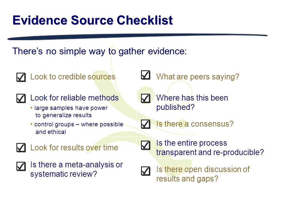 Evidence Source Checklist