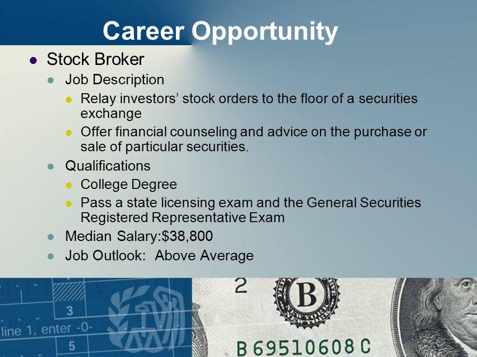Great Career Opportunity Stock Broker Job Description Qualifications