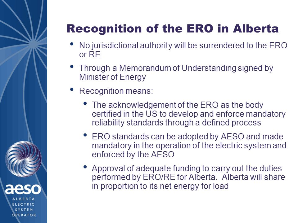 Recognition of the ERO in Alberta