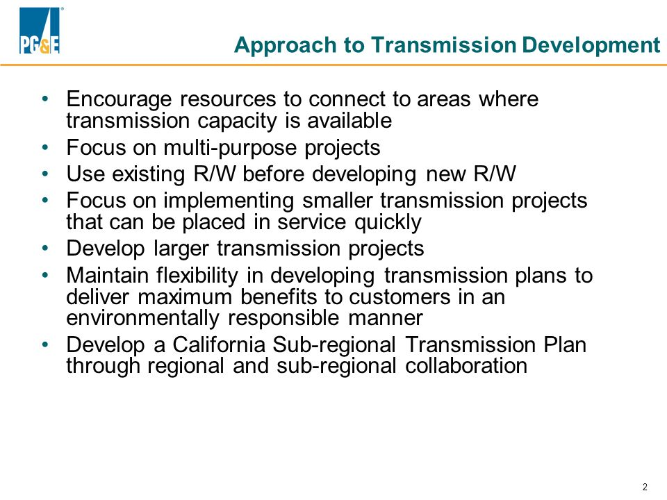 Approach to Transmission Development