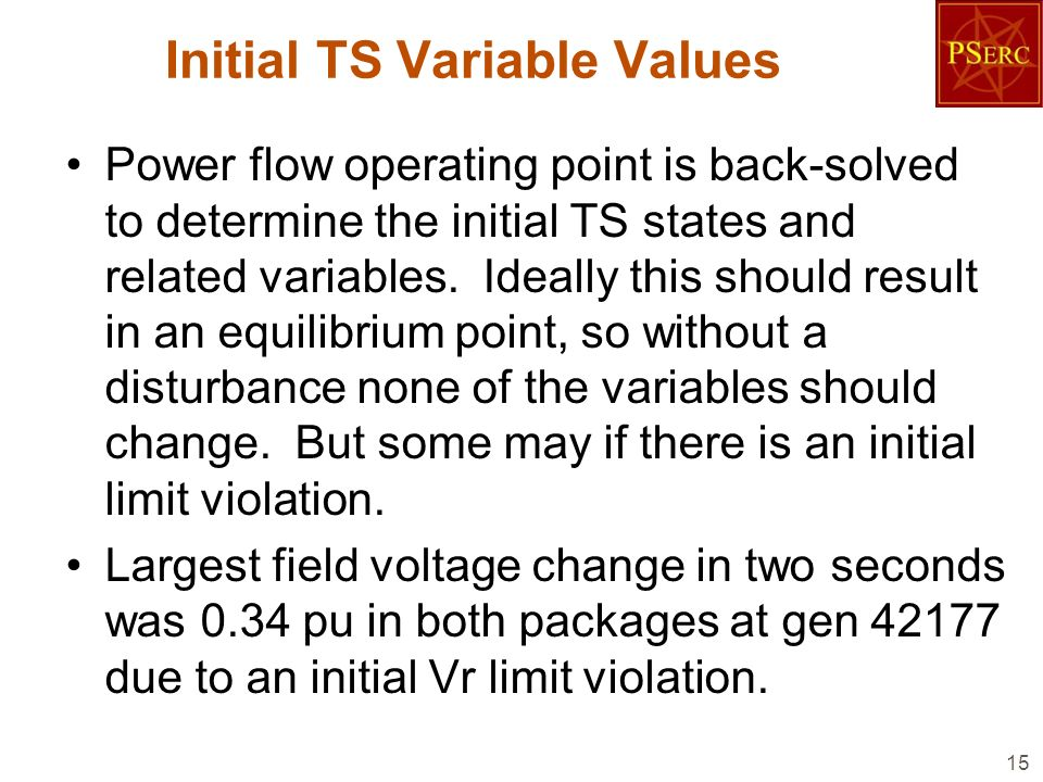 Initial TS Variable Values