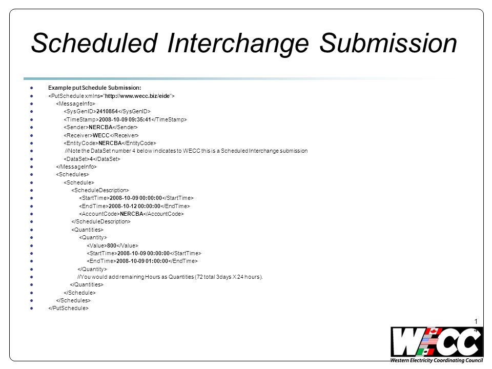 Scheduled Interchange Submission