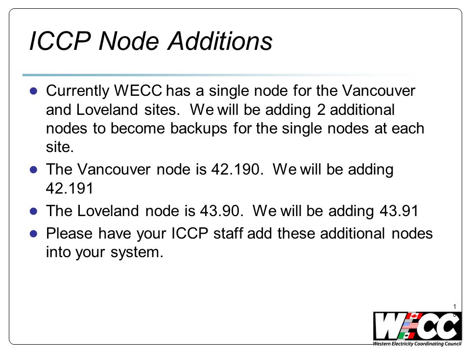 ICCP Node Additions
