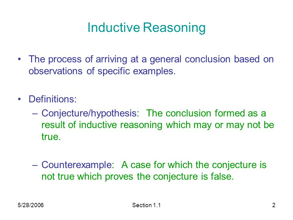 Section 11 Inductive And Deductive Reasoning Ppt Video Online