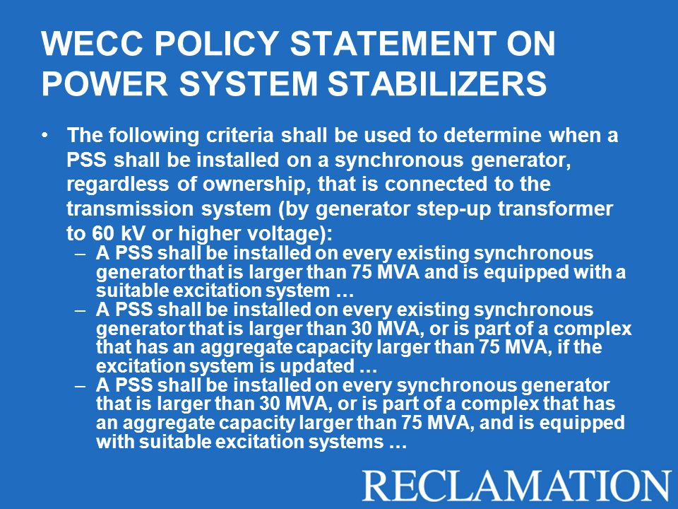 WECC POLICY STATEMENT ON POWER SYSTEM STABILIZERS