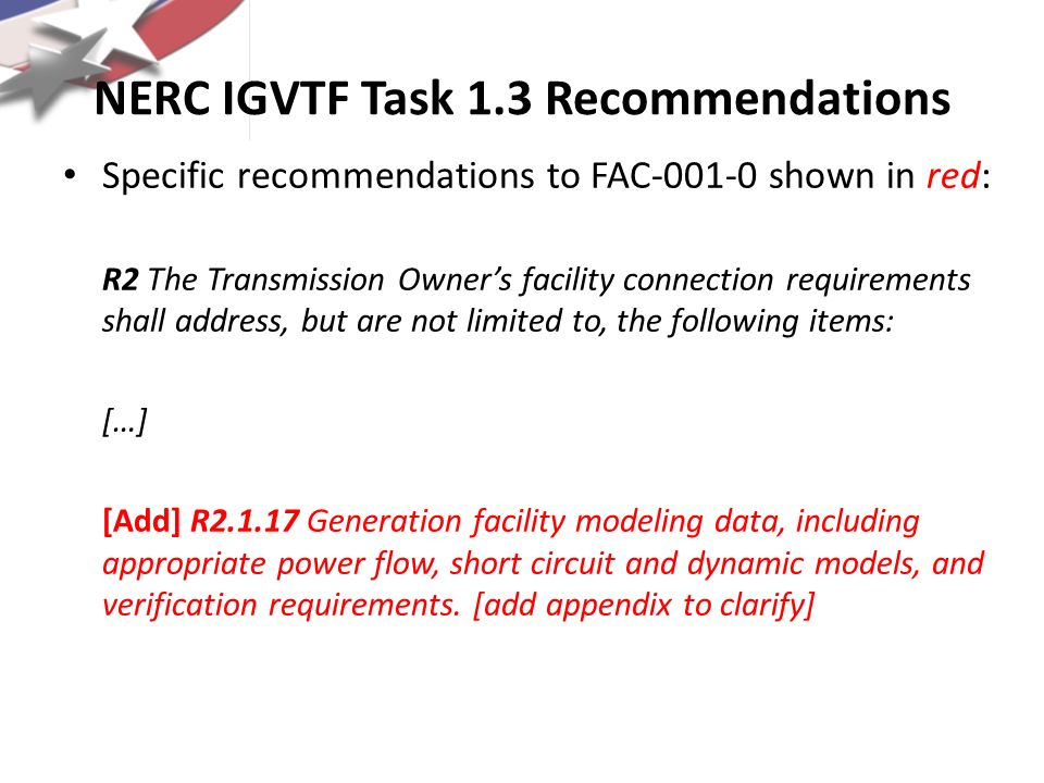 NERC IGVTF Task 1.3 Recommendations