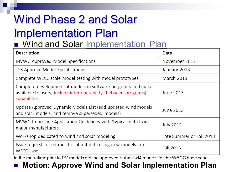 Wind Phase 2 and Solar Implementation Plan