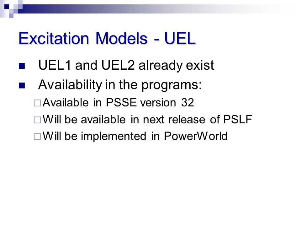 Excitation Models - UEL