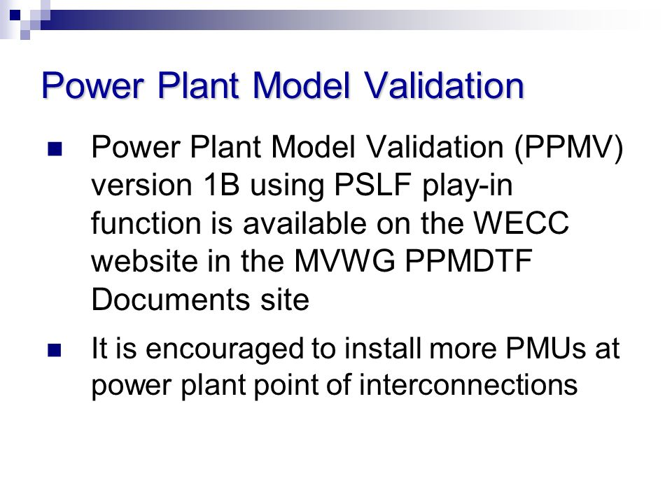 Power Plant Model Validation