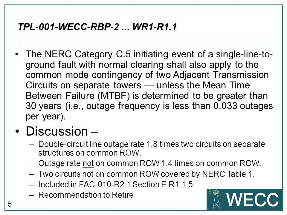 Discussion – TPL-001-WECC-RBP-2 ... WR1-R1.1