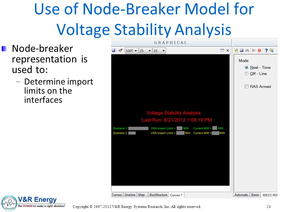 Use of Node-Breaker Model for Voltage Stability Analysis
