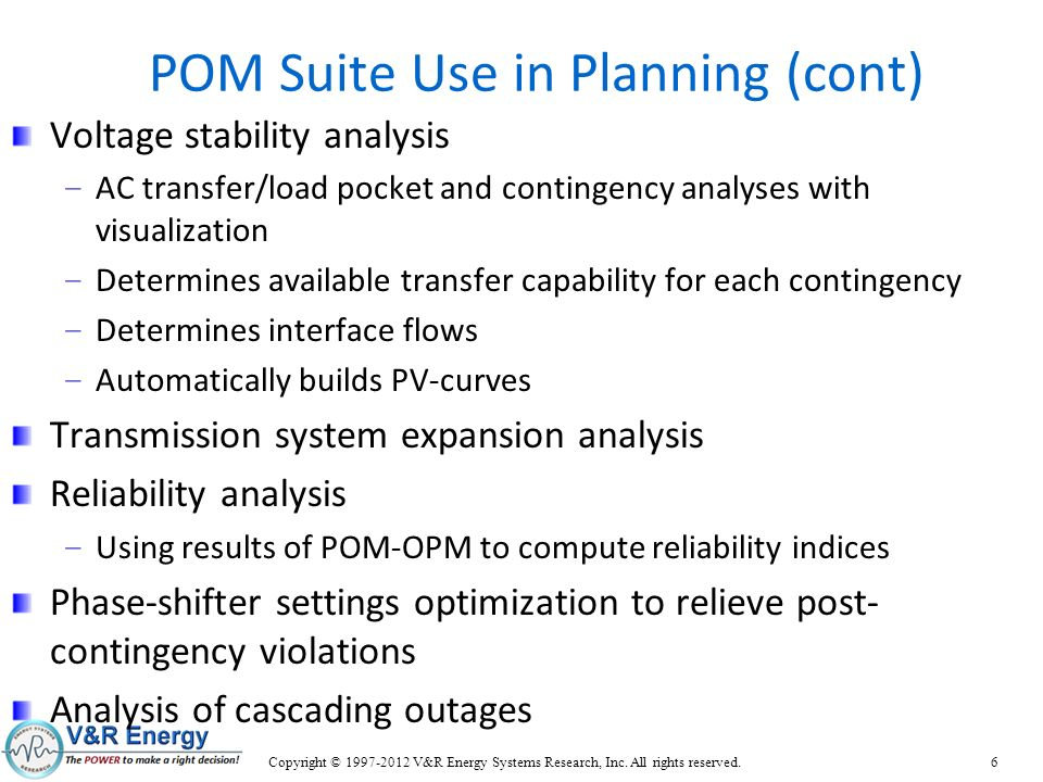 POM Suite Use in Planning (cont)